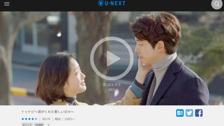 韓流ドラマ「トッケビ〜君がくれた愛しい日々〜」を見放題配信している動画配信サービス